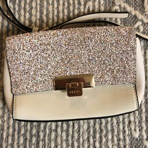 ALDO Glitter White & Gold Crossbody Purse